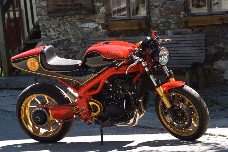 Par de mangos para manillar de motocicleta dorado Rizoma Sport Line